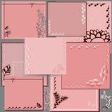 Cuadrados rosados en fondo gris con las decoraciones stock de ilustración