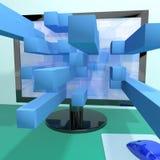 Cuadrados tridimensionales en el ordenador Fotos de archivo libres de regalías
