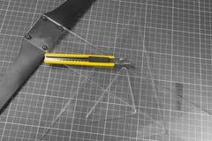 Cuadrados y cuchillo Foto de archivo libre de regalías