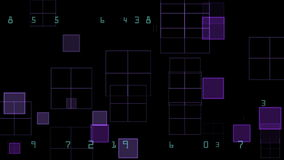Cuadrados y números púrpuras que brillan intensamente ilustración del vector