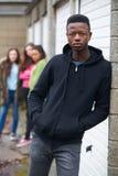 Cuadrilla de adolescentes que cuelgan hacia fuera en el ambiente urbano Imagen de archivo