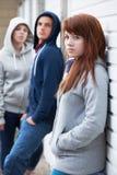 Cuadrilla de adolescentes que cuelgan hacia fuera en el ambiente urbano Imagenes de archivo