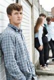 Cuadrilla de adolescentes que cuelgan hacia fuera en el ambiente urbano Imagen de archivo libre de regalías
