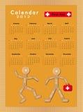 Cuadro 2012 de yeso que se pega del calendario Fotografía de archivo