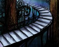 Cuadro abstracto con la escalera larga Foto de archivo libre de regalías