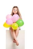 Cuadro aislado de la niña con los globos Fotografía de archivo libre de regalías