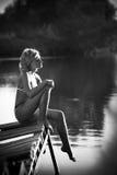 cuadro blanco y negro de una mujer Fotografía de archivo