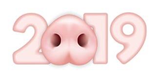 Cuadro 2019 con la cara del cerdo stock de ilustración