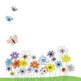 Cuadro con las flores y las mariposas Imagen de archivo