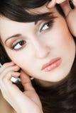 Cuadro de la cara de la muchacha sobre blanco Fotografía de archivo libre de regalías