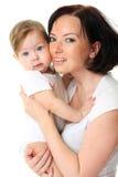 Cuadro de la madre feliz con el bebé sobre blanco imágenes de archivo libres de regalías