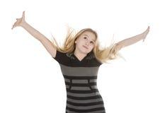 Cuadro de la muchacha encantadora que muestra OK Imagen de archivo libre de regalías