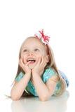 Cuadro de la niña feliz sobre blanco Fotos de archivo
