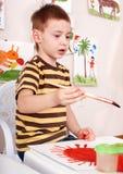 Cuadro de la pintura del niño en pre-entrenamiento. imágenes de archivo libres de regalías