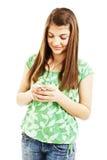 Cuadro del adolescente feliz con el teléfono celular Fotografía de archivo