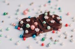 Cuadro 2016 del chocolate con las gotas comestibles del azúcar Foto de archivo libre de regalías