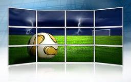 Cuadro del fútbol en monitores Imagenes de archivo