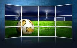 Cuadro del fútbol en monitores Imágenes de archivo libres de regalías