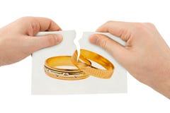 Cuadro del rasgón de las manos con los anillos de bodas Imagen de archivo libre de regalías