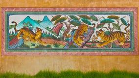 Cuadro del tigre de la pintura de pared en templo Imagen de archivo