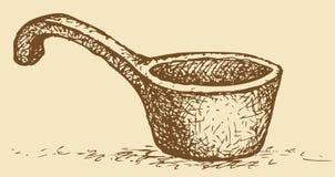 Cuadro del vector Cucharada de madera vieja Foto de archivo libre de regalías