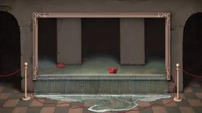 Cuadro en cuadro y un barco rojo. Fotografía de archivo