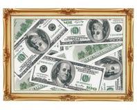 Cuadro en el viejo marco de oro - dinero - dólares Imágenes de archivo libres de regalías