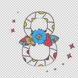 Cuadro ocho del vector en el estilo escandinavo a mano Con un modelo de las diversas flores y hojas en un fondo blanco stock de ilustración