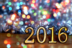Cuadros 2016 (Año Nuevo, la Navidad) en luces brillantes Imagen de archivo