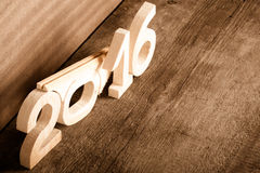 Cuadros de madera 2016 en fondo de madera gris entonado Fotografía de archivo