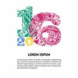 Cuadros decorativos coloreados 2016 para su tarjeta del diseño, bandera stock de ilustración