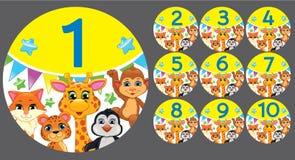 Cuadros 1 a 10 en un círculo con los animales Foto de archivo
