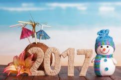 Cuadros muñeco de nieve 2017 y flor del coco en la tabla contra el mar Foto de archivo libre de regalías