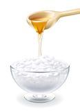 Cuajada con la miel en vidrio ilustración del vector