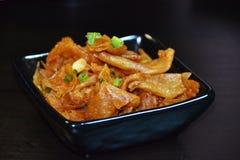 Cuajada de habichuelas frita picante de la comida china Foto de archivo