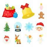 Cualidades de la Navidad e iconos de la historieta de los accesorios en la colección del sistema para el diseño Web de la acción  Fotografía de archivo