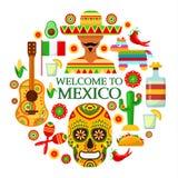 Cualidades del mexicano en el fondo blanco ilustración del vector