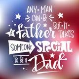 Cualquier hombre puede ser un padre pero toma alguien especial para ser una cita del papá Estilo redondo de la alfombra del diseñ stock de ilustración
