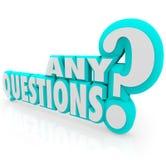 Cualquier palabras de las preguntas que piden el aprendizaje de enseñanza de la lección del resumen Fotografía de archivo libre de regalías