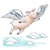 Cuando los cerdos vuelan Un cochinillo gordo está volando entre las nubes de cúmulo libre illustration