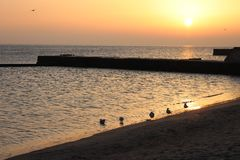 Cuando usted ama la salida del sol sobre el mar foto de archivo