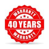 Cuarenta años de la garantía de icono del vector Fotografía de archivo libre de regalías