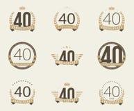 Cuarenta años del aniversario de logotipo de la celebración 40.a colección del logotipo del aniversario Imagen de archivo libre de regalías