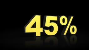 Cuarenta y cinco representación del por ciento 3D del 45% Foto de archivo