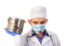 Cuarentena, doctor en una máscara Imágenes de archivo libres de regalías
