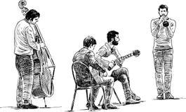 Cuarteto de los músicos de la calle stock de ilustración