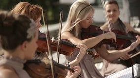 Cuarteto musical Tres violinistas y violoncelista que juegan música Cierre para arriba metrajes