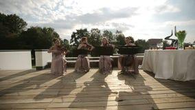 Cuarteto musical Tres violinistas y violoncelista que juegan música Posibilidad muy remota almacen de video