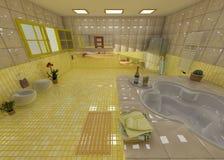 Cuarto de baño amarillo lujoso en un balneario Fotografía de archivo libre de regalías