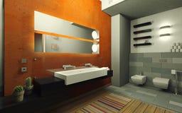 Cuarto de baño anaranjado Fotos de archivo libres de regalías